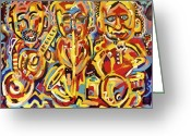 Jamming Painting Greeting Cards - Jazz Trio Greeting Card by Isaac Rudansky