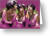 Musicians Pastels Greeting Cards - Jazz Trio Greeting Card by Yuriy  Shevchuk