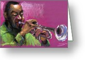 Musicians Pastels Greeting Cards - Jazz Trumpeter Greeting Card by Yuriy  Shevchuk