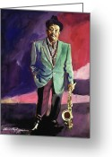 Orchestra Greeting Cards - Jazzman Ben Webster Greeting Card by David Lloyd Glover
