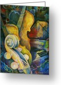 Cards Greeting Cards - Jazzy Cello Greeting Card by Susanne Clark