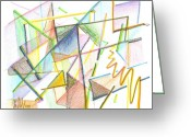 Window Panes Greeting Cards - Jazzy Glass Greeting Card by Kip DeVore