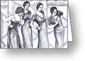 Grooving Greeting Cards - Jazzy Ladies BW Greeting Card by Mel Thompson