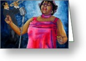 Blues Tapestries - Textiles Greeting Cards - Jazzy Lady Greeting Card by Linda Marcille