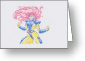 Psylocke Greeting Cards - Jean Grey Greeting Card by Toni Jaso