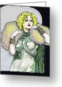 1933 Movies Greeting Cards - Jean Harlow Greeting Card by Mel Thompson
