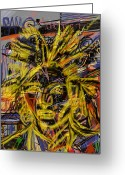 Nyc Graffiti Greeting Cards - Jean Michel Greeting Card by Russell Pierce