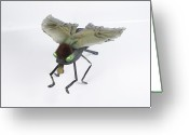 Science Fiction Sculpture Greeting Cards - Jeanetic Green-Eyed Fly Greeting Card by Michael Jude Russo