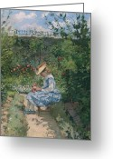 Pisarro Greeting Cards - Jeanne in the Garden Greeting Card by Camille Pissarro