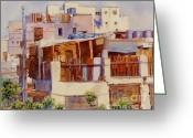 Arabia Greeting Cards - Jeddah Rooftops Greeting Card by Dorothy Boyer