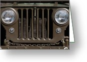 Military Vehicle Greeting Cards - Jeep Grill Greeting Card by Dan Holm