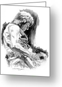 All Star Drawings Greeting Cards - Jeff Beck in Concert Greeting Card by David Lloyd Glover