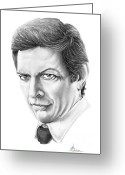 Famous People Drawings Greeting Cards - Jeff Goldblum Greeting Card by Murphy Elliott