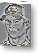 Hall Of Fame Greeting Cards - Jeff Gordon in 2010 Greeting Card by J McCombie