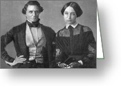Presidency Greeting Cards - Jefferson Davis And Varina Howell Davis Greeting Card by Photo Researchers
