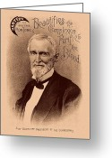 American President Drawings Greeting Cards - Jefferson Davis Vintage Advertisement Greeting Card by War Is Hell Store