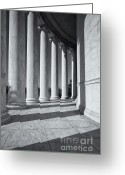 Washington D.c. Tapestries Textiles Greeting Cards - Jefferson Memorial Columns and Shadows Greeting Card by Clarence Holmes