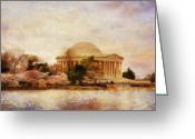 Tidal River Greeting Cards - Jefferson Memorial Just Past Dawn Greeting Card by Lois Bryan
