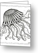 Swirls Drawings Greeting Cards - Jelly Fish Greeting Card by Stephanie Troxell