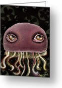 Squid Greeting Cards - Jellyfish Greeting Card by  Abril Andrade Griffith