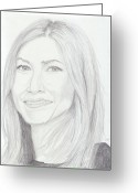 Pencil Drawing Greeting Cards - Jennifer Aniston Greeting Card by Jose Valeriano