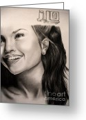 Puerto Rico Drawings Greeting Cards - Jennifer Lopez Greeting Card by Becky Ellis