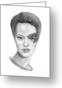 Graphite Greeting Cards - Jeri Ryan Seven of Nine Greeting Card by Murphy Elliott