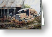 Junk Greeting Cards - Jeromes Tank Truck Greeting Card by Sam Sidders