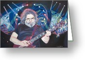 Singer Drawings Greeting Cards - Jerry Garcia and Lights Greeting Card by Joshua Morton