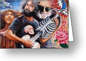 Abstract Expressionism Greeting Cards - Jerry Garcia and the Grateful Dead Greeting Card by Darwin Leon