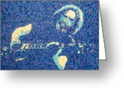 Singer Drawings Greeting Cards - Jerry Garcia Chuck Close style Greeting Card by Joshua Morton