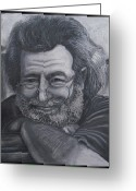 Stone Pastels Greeting Cards - Jerry Garcia Greeting Card by Dennis Jones