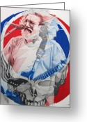 Singer Drawings Greeting Cards - Jerry garcia Steel Your Face Greeting Card by Joshua Morton