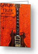Iconic Guitars Greeting Cards - Jerry Garcia Tiger Greeting Card by Karl Haglund
