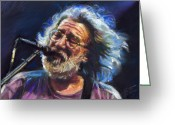 Rock And Roll Glass Greeting Cards - Jerry Garcia  Greeting Card by Ylli Haruni