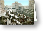 Souk Greeting Cards - JERUSALEM: BAZAAR, c1900 Greeting Card by Granger