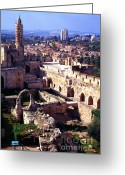Old City Tower Greeting Cards - Jerusalem from the Tower of David Museum Greeting Card by Thomas R Fletcher
