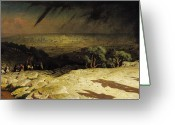 Oil Canvas Greeting Cards - Jerusalem Greeting Card by Jean Leon Gerome