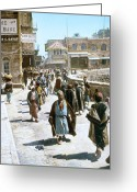 1970s Photo Greeting Cards - Jerusalem Street Scene Greeting Card by Granger