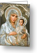 Jesus  Tapestries - Textiles Greeting Cards - Jerusalem Theotokos Greeting Card by Stoyanka Ivanova