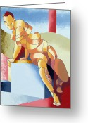 Cubist Greeting Cards - Jesse - Abstract Acrylic Figurative Painting Greeting Card by Mark Webster