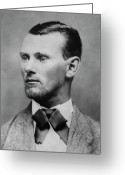 Old West Greeting Cards - Jesse James -- American Outlaw Greeting Card by Daniel Hagerman