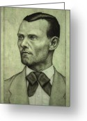 Outlaw Greeting Cards - Jesse James Greeting Card by James W Johnson
