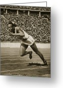 Sprinting Greeting Cards - Jesse Owens Greeting Card by American School