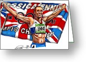 National Drawings Greeting Cards - Jessica Ennis Greeting Card by Dave Olsen
