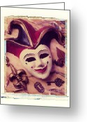 Masks Greeting Cards - Jester mask Greeting Card by Garry Gay