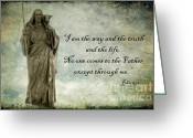 Bible Scripture Canvas Greeting Cards - Jesus - Christian Art - Religious Statue of Jesus - Bible Quote Greeting Card by Kathy Fornal