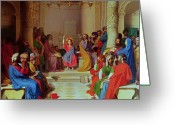 Listening Greeting Cards - Jesus Among the Doctors Greeting Card by Ingres