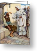 Floor Painting Greeting Cards - Jesus and the Blind Man Greeting Card by Arthur A Dixon
