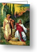 Biblical Greeting Cards - Jesus and the Woman at the Well Greeting Card by John Lautermilch